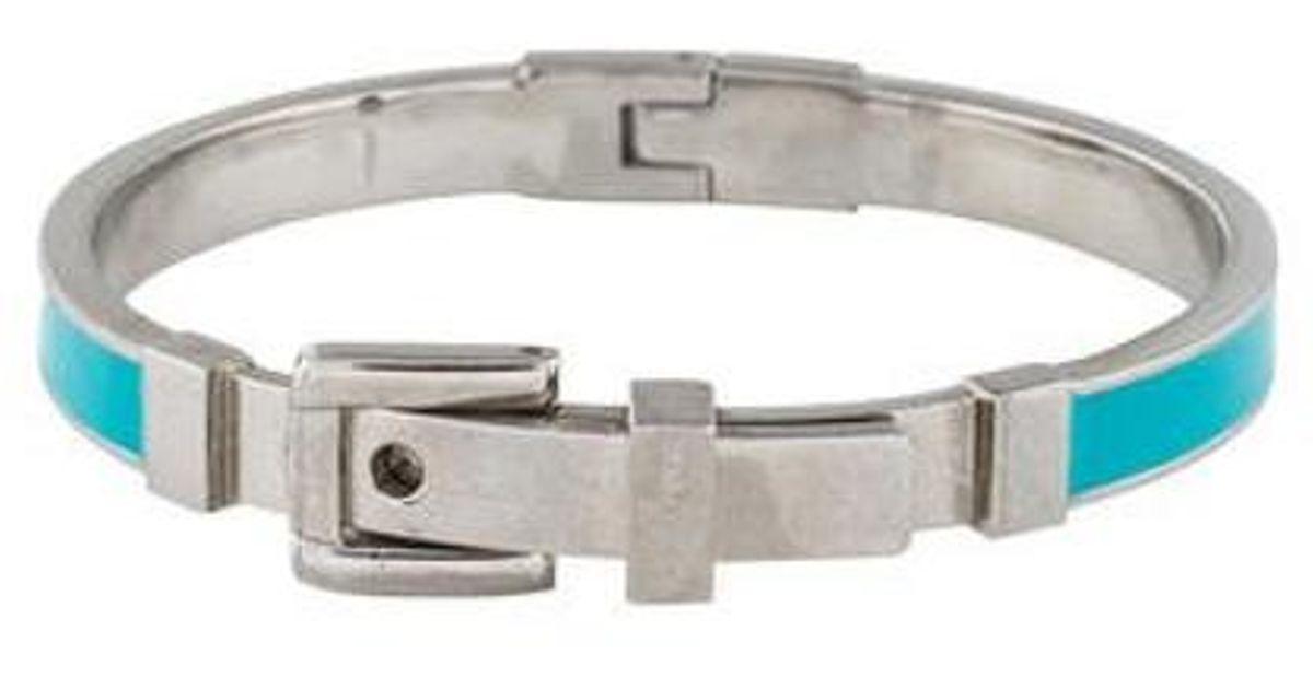 Lyst Michael Kors Enamel Buckle Bracelet Silver In Metallic