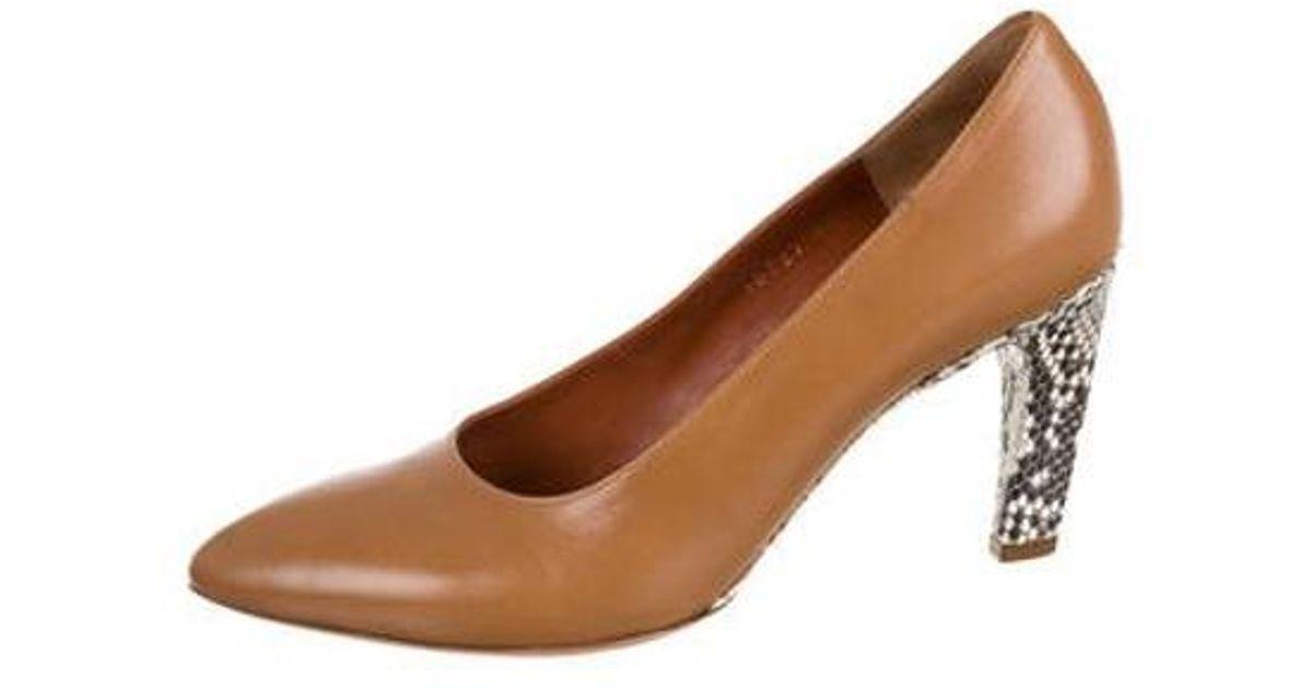 32257aab88 Lyst - Dries Van Noten Leather Round-toe Pumps in Brown