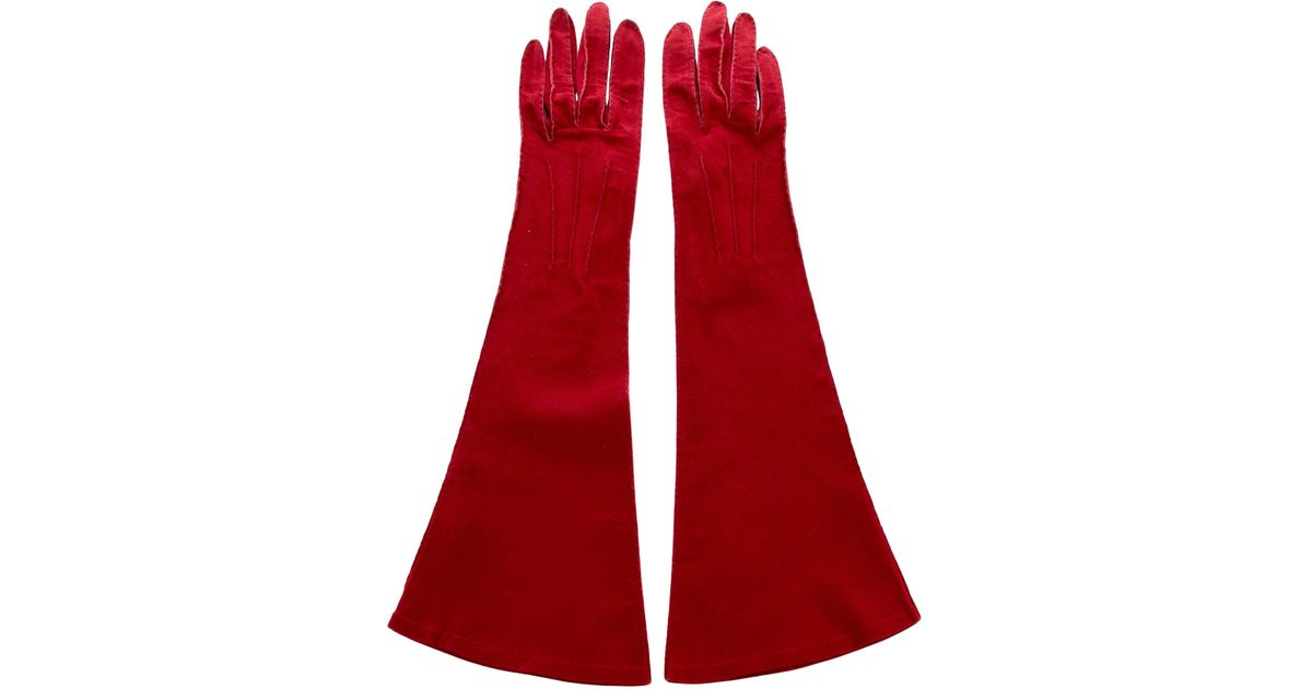 b5ee6f17ec7 Lyst - Chanel Embroidered Suede Gloves in Red