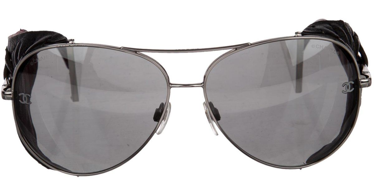 Lyst Chanel Quilted Aviator Sunglasses Silver In Metallic