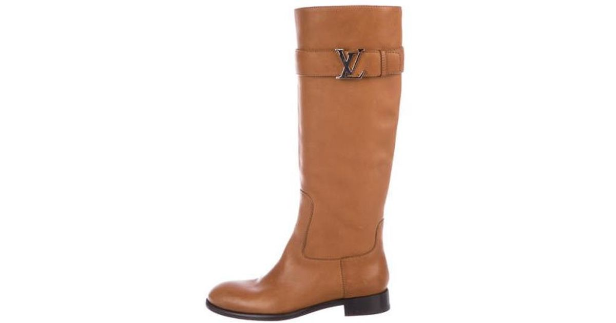 858bf9ef813 Lyst - Louis Vuitton Leather Knee-high Boots Silver in Metallic