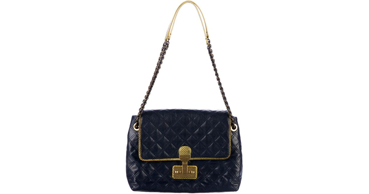 c03d5c0184dd Lyst - Marc Jacobs The Xl Single Leather And Snakeskin Trim Shoulder Bag  Navy in Metallic