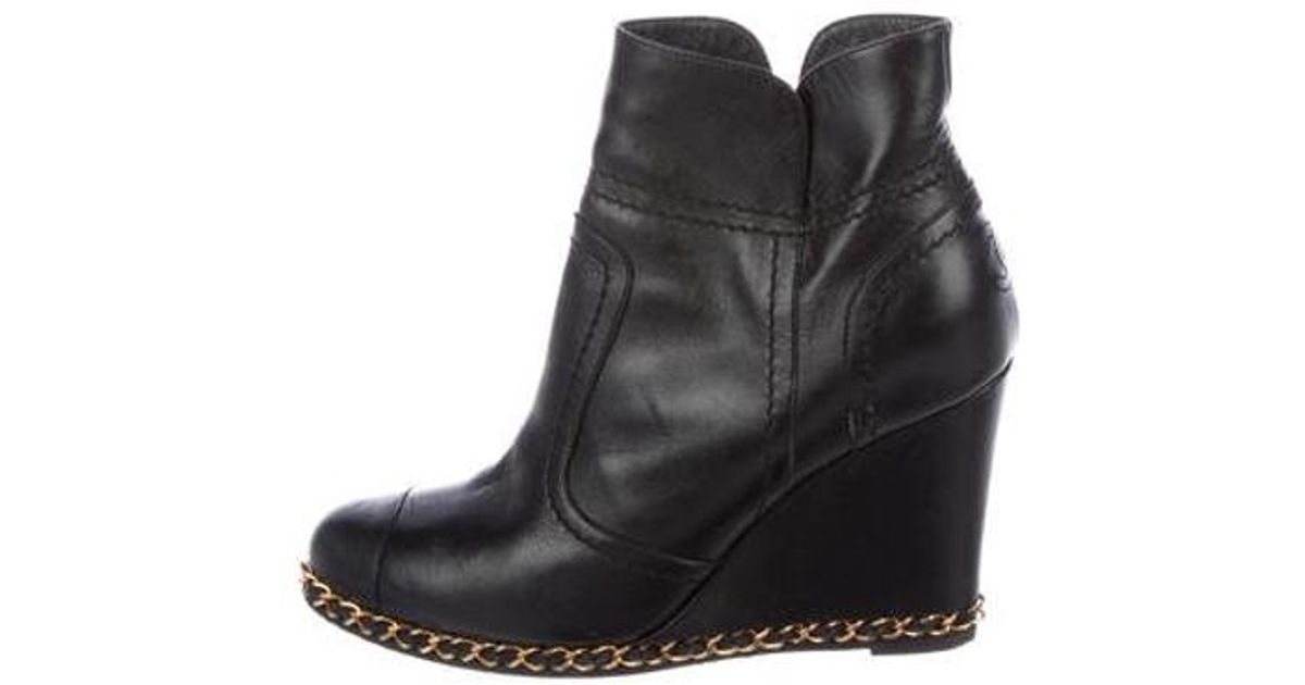 14cd8a3d57f Lyst - Chanel Leather Chain-link Booties Black in Metallic