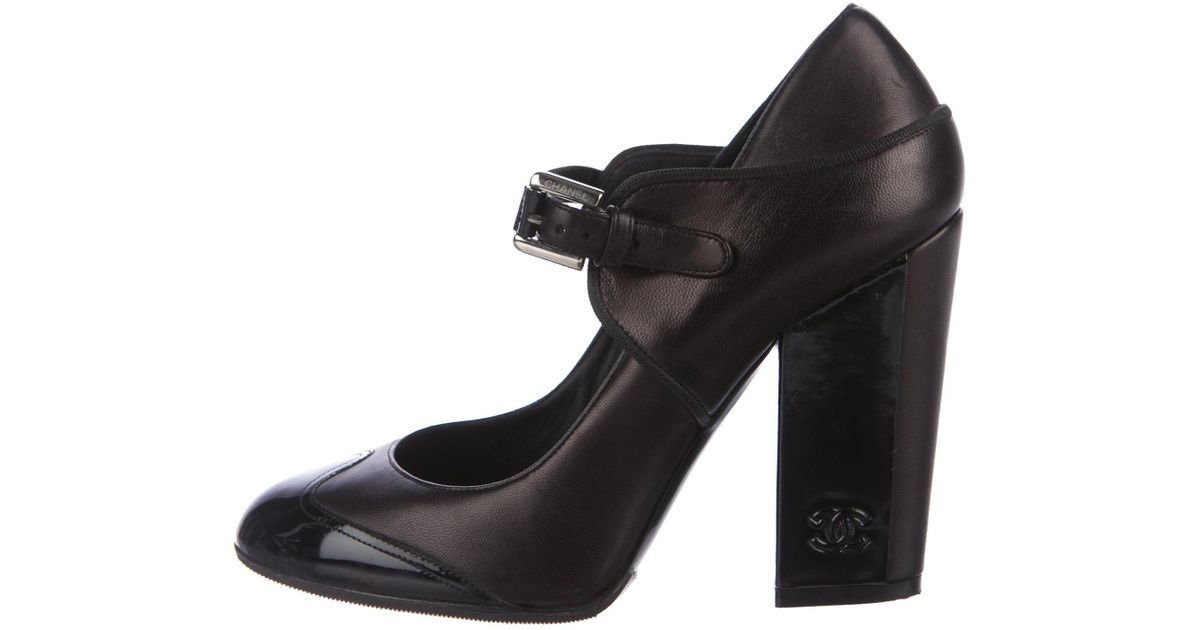 17b183b04833 Chanel Cc Mary Jane Pumps Black in Metallic