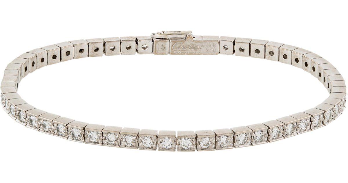 Cartier 18k Lani¨res Diamond Line Bracelet White in Metallic
