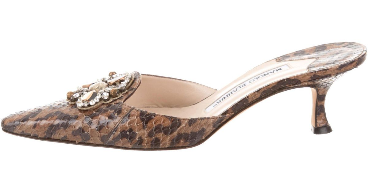 Manolo Blahnik Python Embellished Mules free shipping manchester great sale really online low price fee shipping cheap online 6zhAHG1R2M