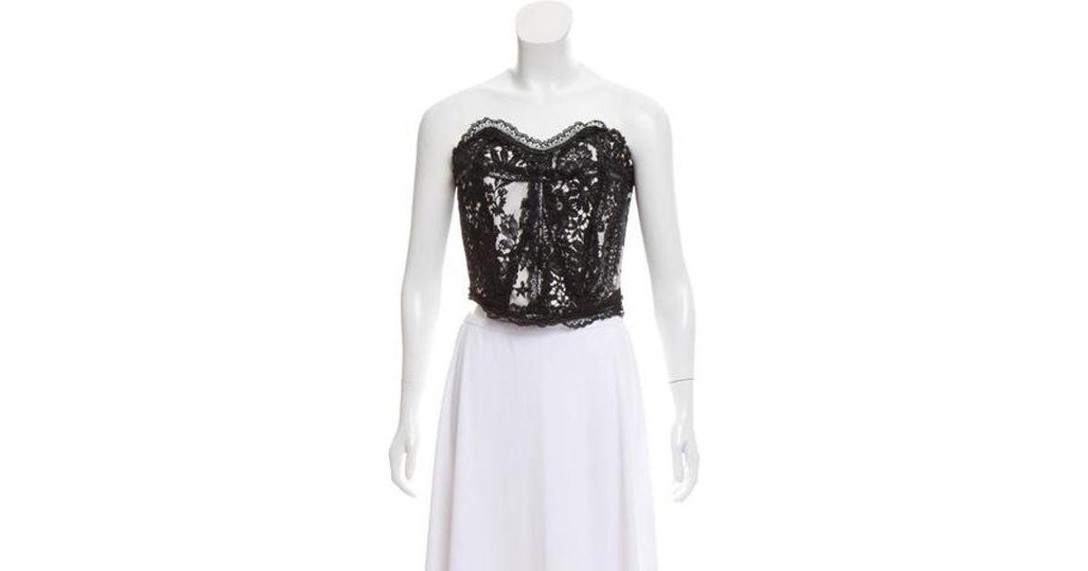 68a2ec54c1 Lyst - Christian Lacroix Strapless Lace Bustier in Black