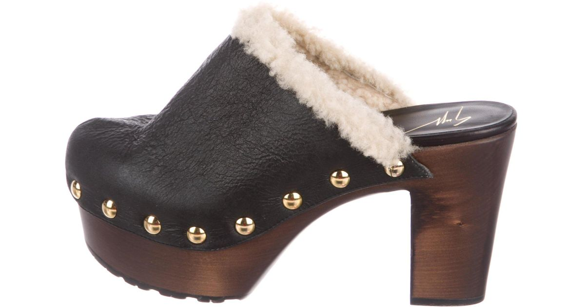 big sale cheap online Giuseppe Zanotti Leather Shearling-Trimmed Clogs prices cheap online cheap sale discounts ost release dates cheap sale fake fGDQbe