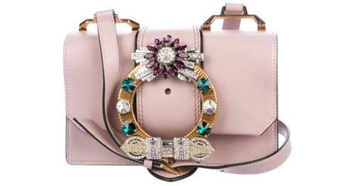 d18ca43e5550 Lyst - Miu Miu Miu 2017 Lady Jeweled Madras Crossbody Bag Pink in Metallic