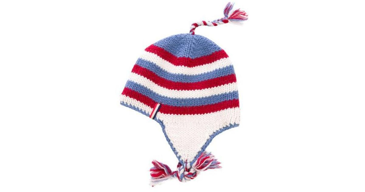 513999c4908 Lyst - Moncler Striped Knit Beanie in Red