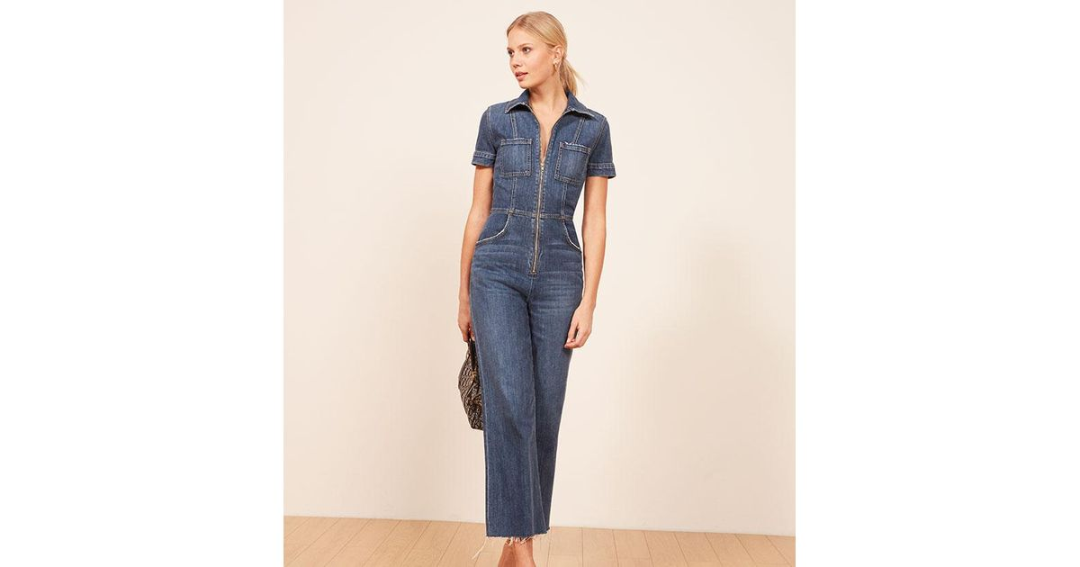 2c220ad7bfce Reformation Georgia Jumpsuit in Blue - Lyst