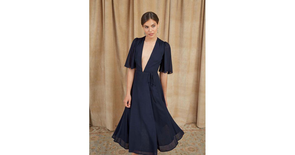 c1c46b332144 Lyst - Reformation Rhodes Dress in Blue
