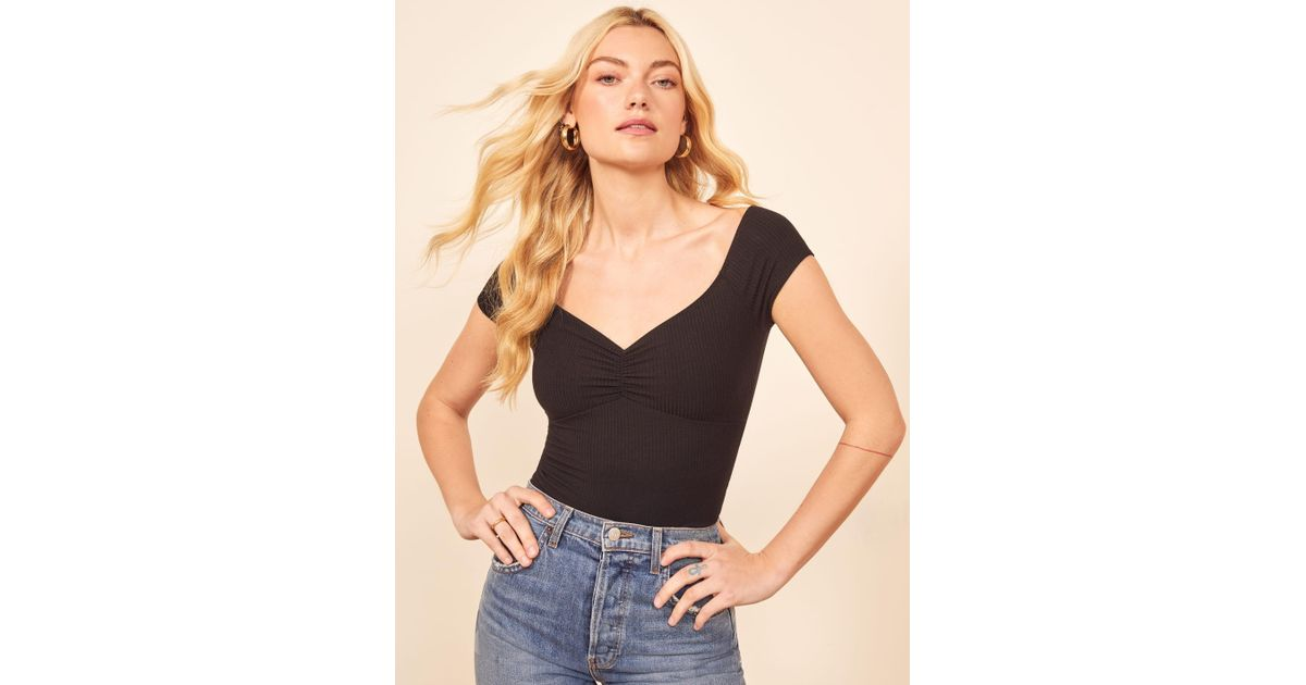 7659e70c814 Lyst - Reformation Arabella Top in Black