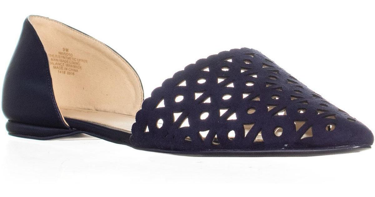 7f4994ed428 Nine West - Blue Soto Cut Out Pointed Toe Flats - Lyst