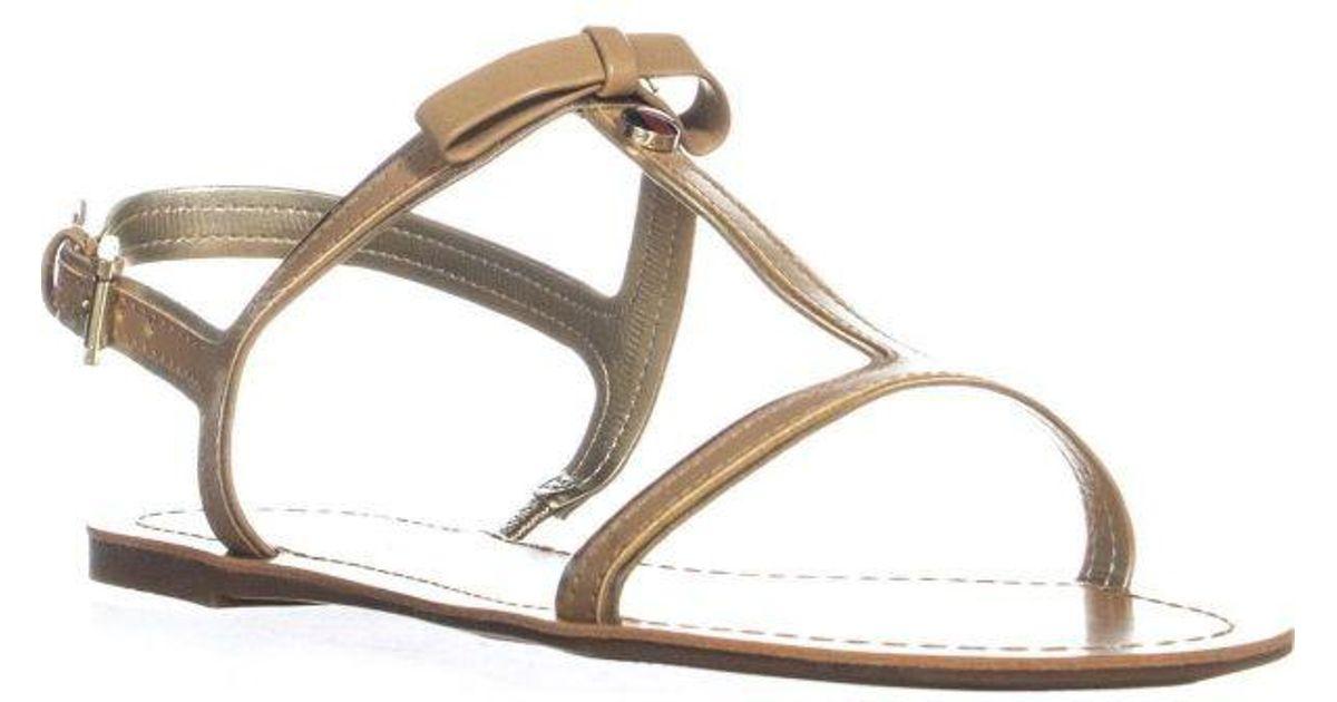 caf05fe1c1ac1d Tommy Hilfiger - Natural Lisel T-strap Slingback Sandals - Lyst