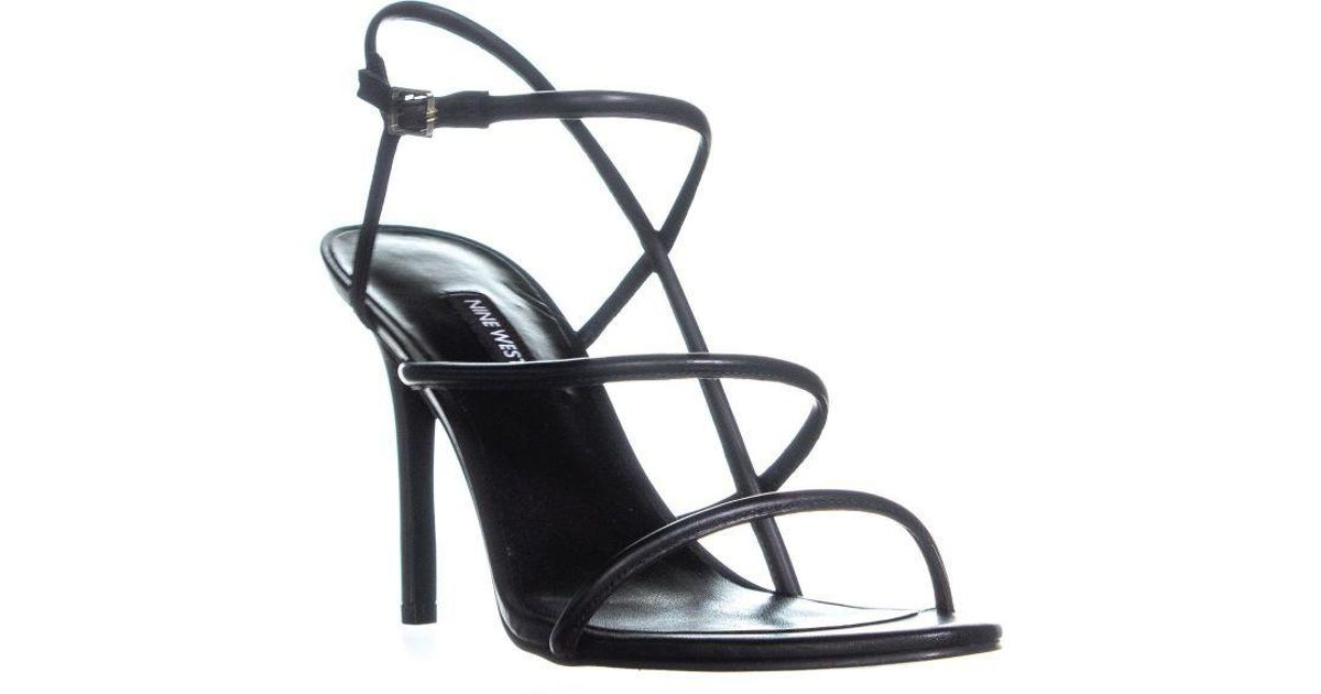 4056df25d3ae Nine West Mericia Strappy Evening Sandals in Black - Lyst