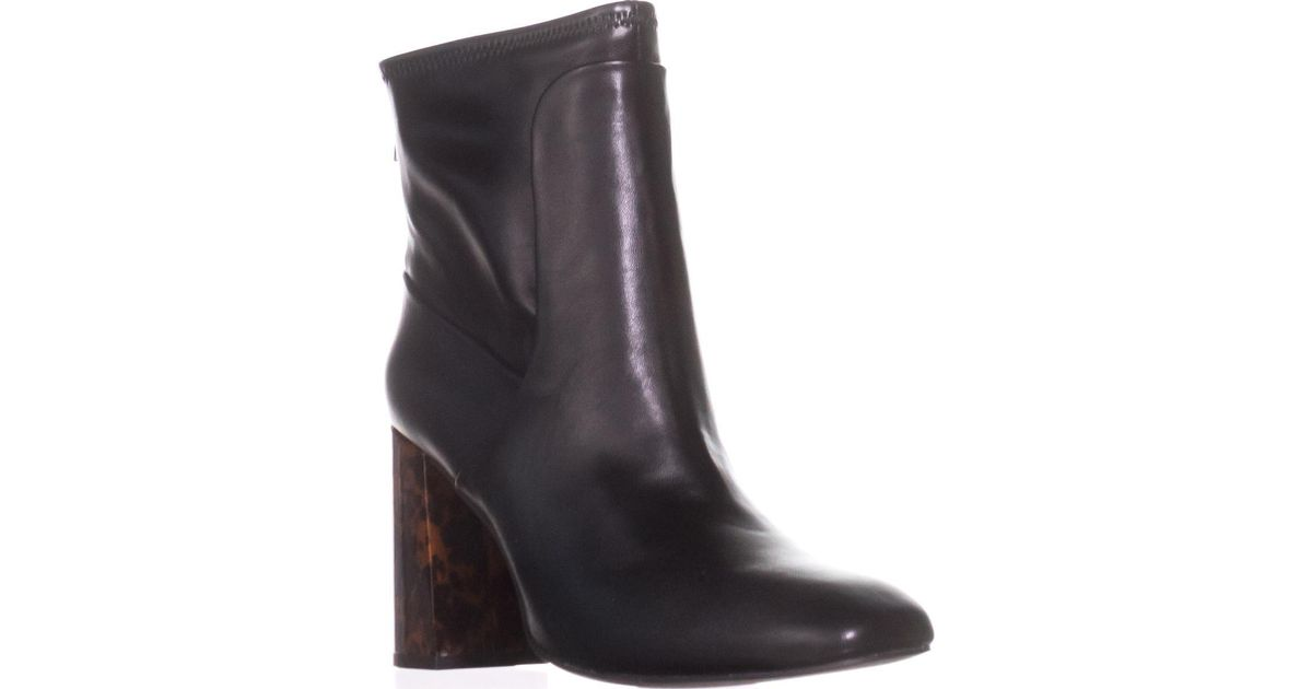 Charles David Trudy ALL Black Square Toe Patent Chunky heel Stretchy Bootie