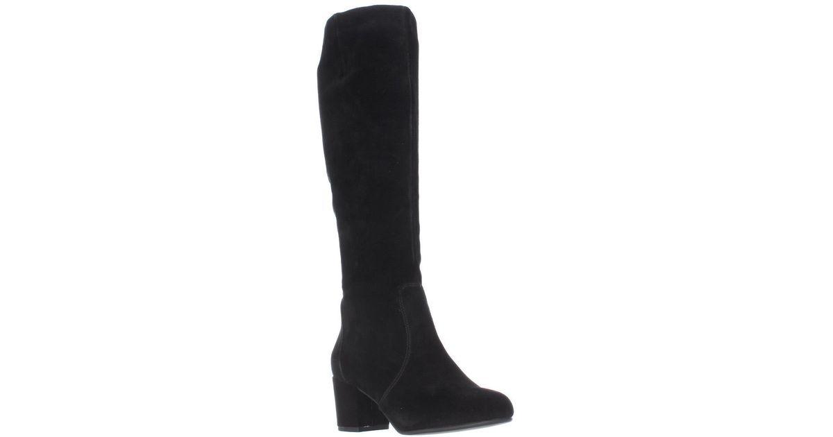 61d86855d48 Steve Madden Black Haydun Block Heel Tall Boots