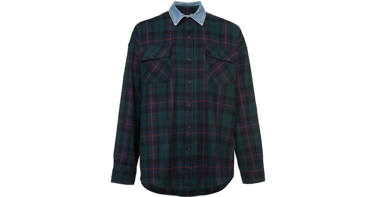 7498ce653c Lyst - Fear Of God Denim Collared Flannel Shirt in Blue for Men