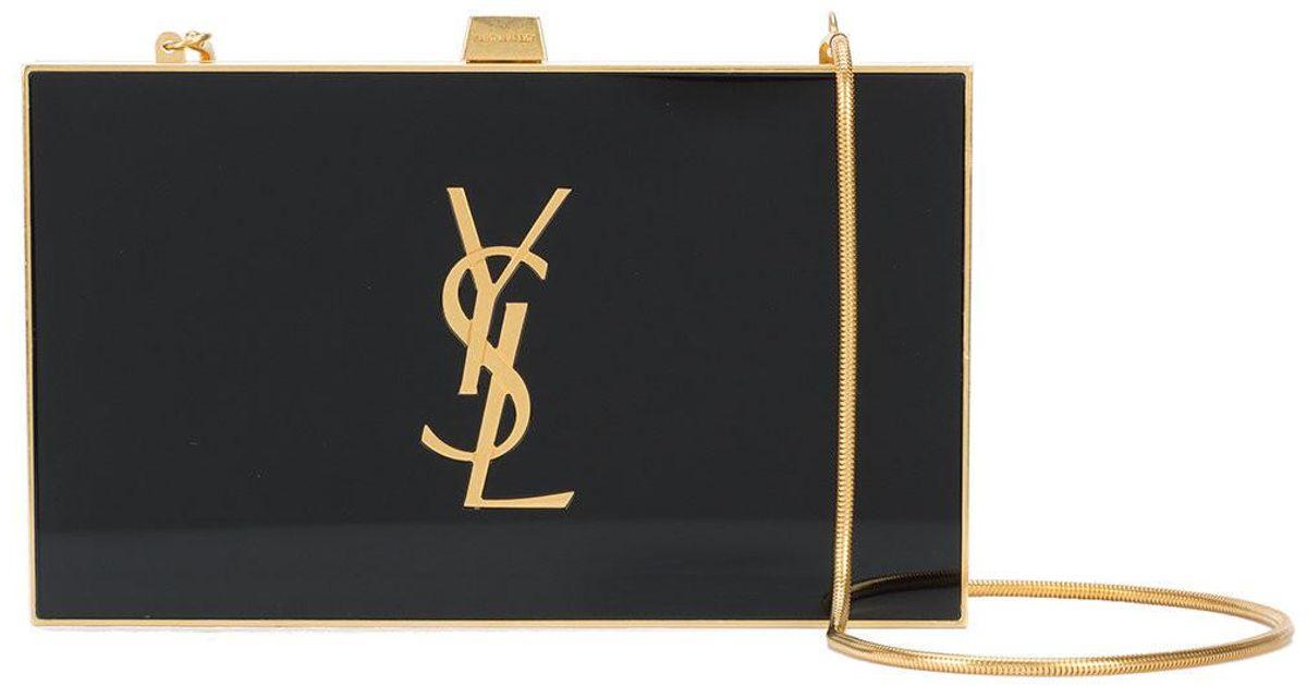 9f9589c9dcd Lyst - Saint Laurent Tuxedo Box Clutch in Black