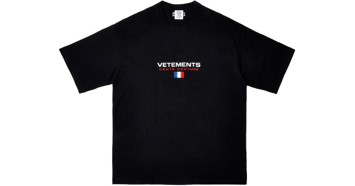 Vetements Black Haute Couture Tee-shirt for