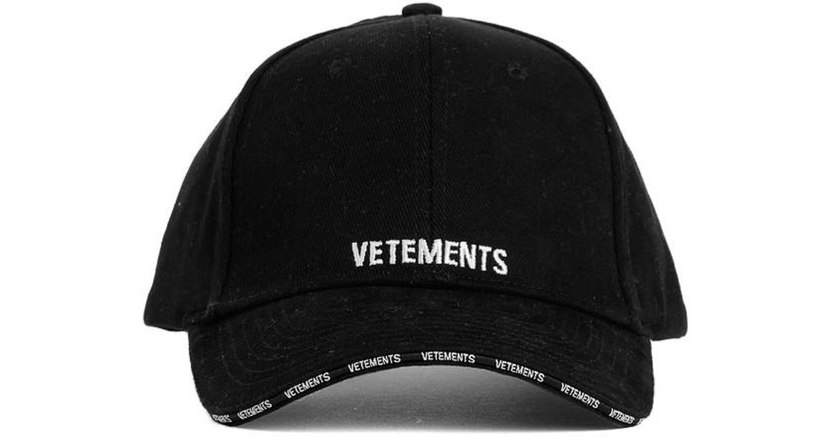 Lyst - Vetements Logo Cap in Black for Men 73ac0370a27e