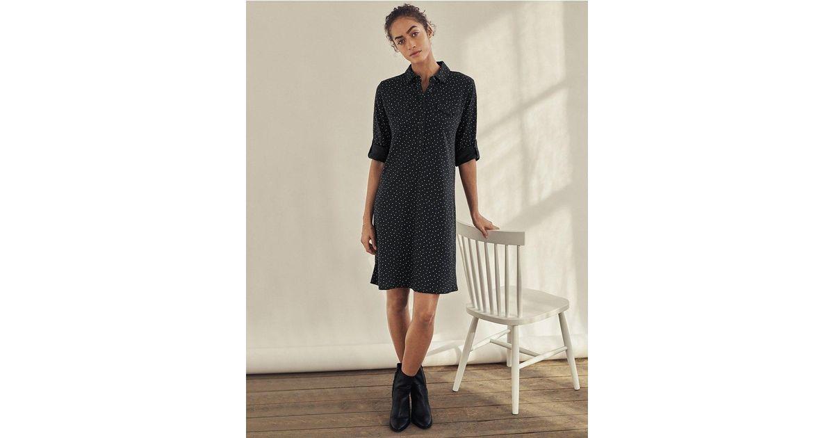 a7a6ff80 The White Company Black Cotton Spot Print Shirt Dress