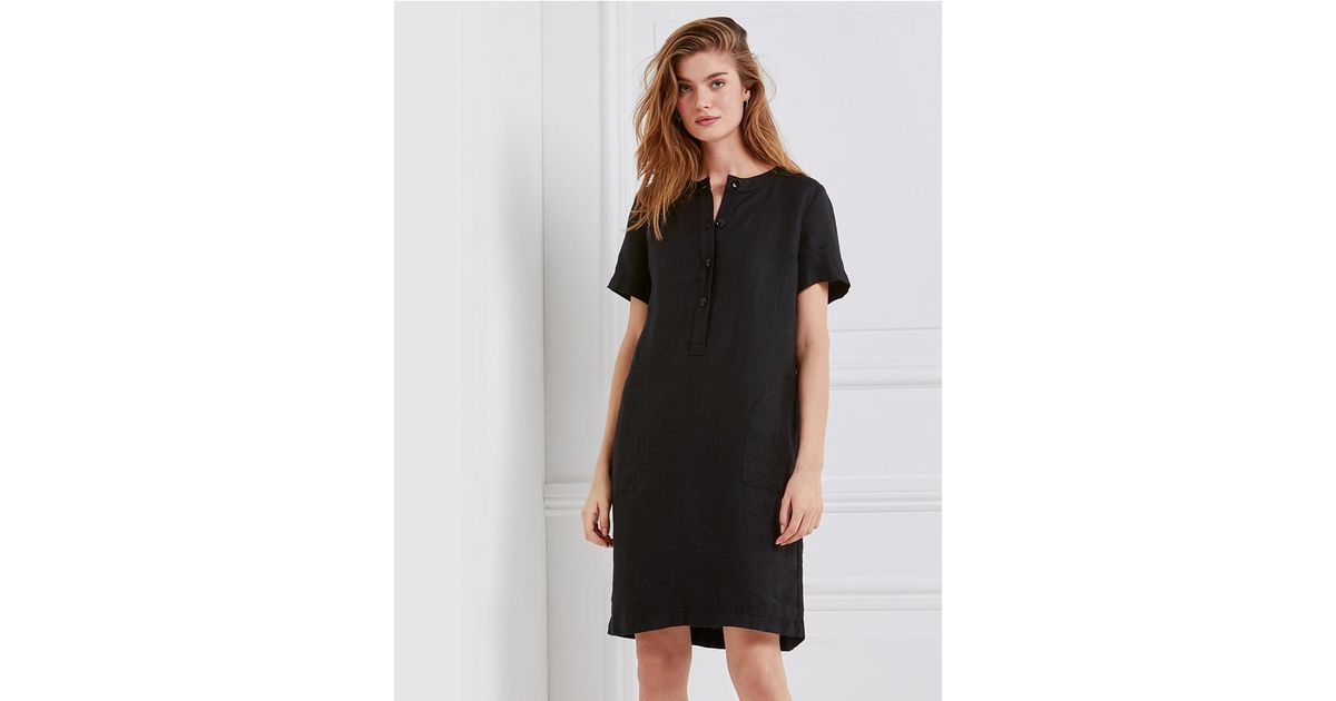 new style shop for genuine latest discount The White Company Black Linen Collarless Shirt Dress