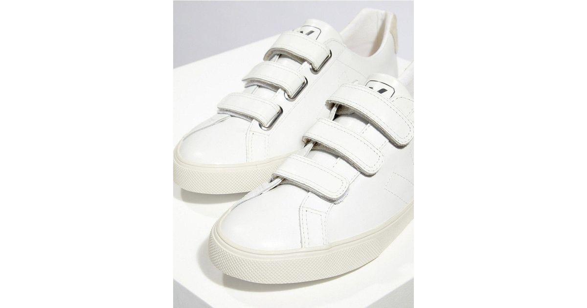 Veja 3 Lock Leather Sneakers in White