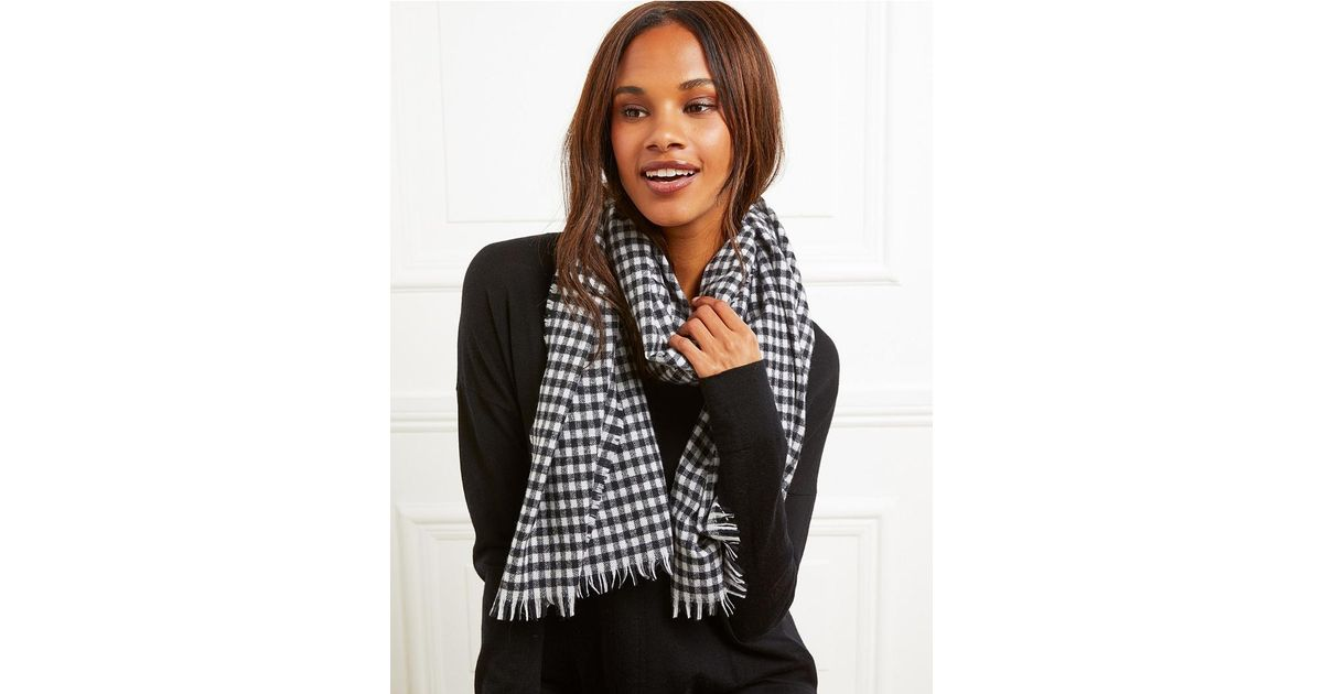 0488fee1d8004 The White Company Wool Gingham Check Scarf in Black - Lyst