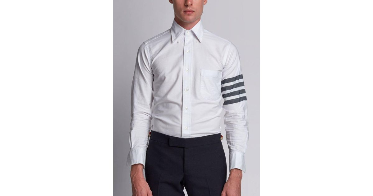 ae922f26a69 Lyst - Thom Browne Woven 4-bar Armband Oxford Shirt in White for Men