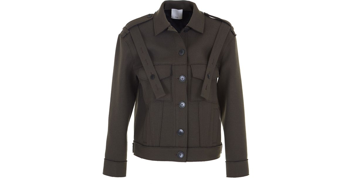 Tibi Admiral Relaxed Jacket In Green Lyst