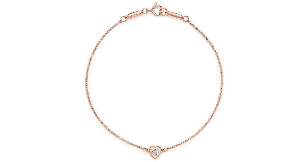 3cebfafbd46d9 Tiffany & Co Pink Elsa Peretti. Diamonds By The Yard. Heart Bracelet In 18k  Rose Gold