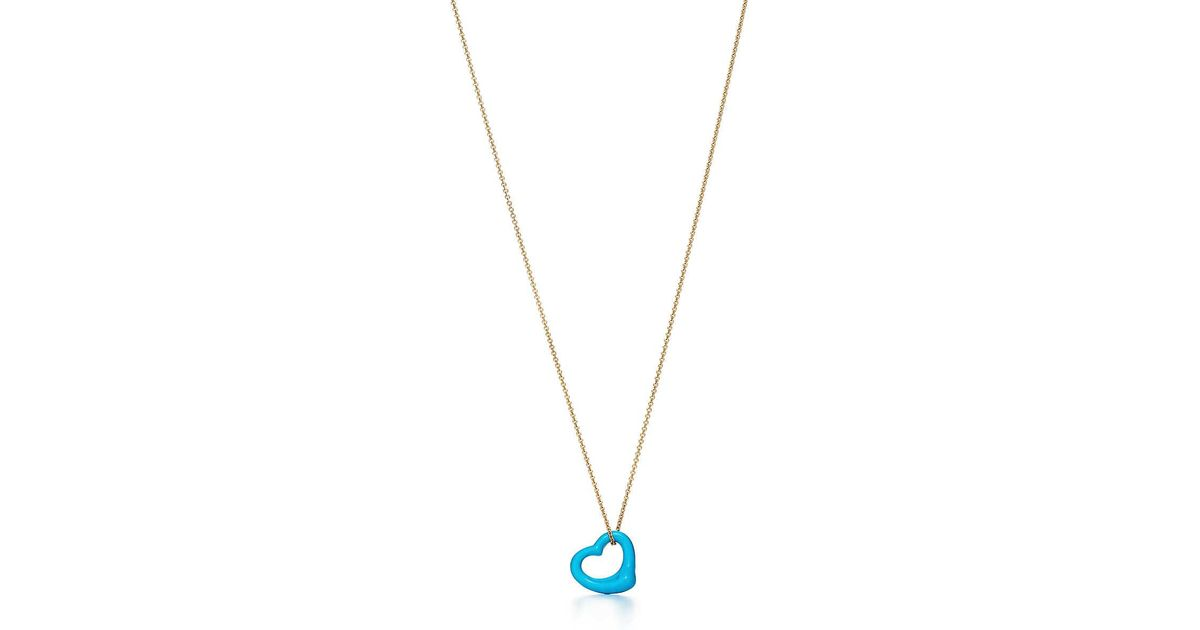 fa3d6a7c0253c Tiffany & Co Metallic Elsa Peretti® Open Heart Pendant Of Turquoise And 18k  Gold