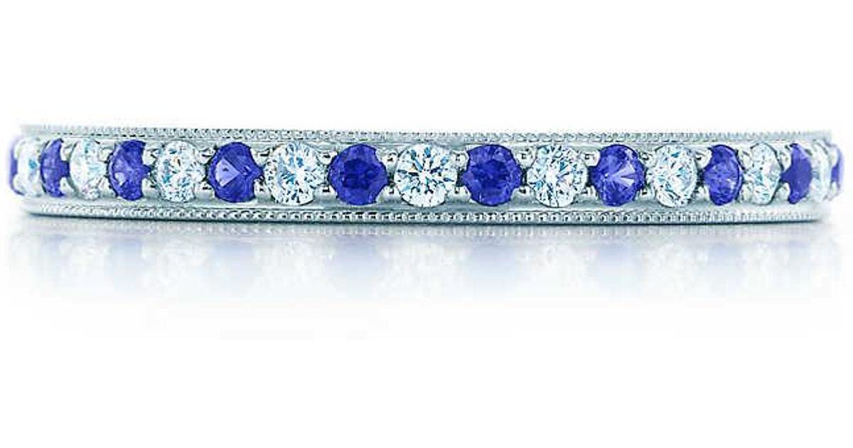 a8c5ba2b8414c Tiffany & Co Blue Tiffany Legacy Collection Band Ring In Platinum With  Diamonds And Sapphires - Size 6 1/2