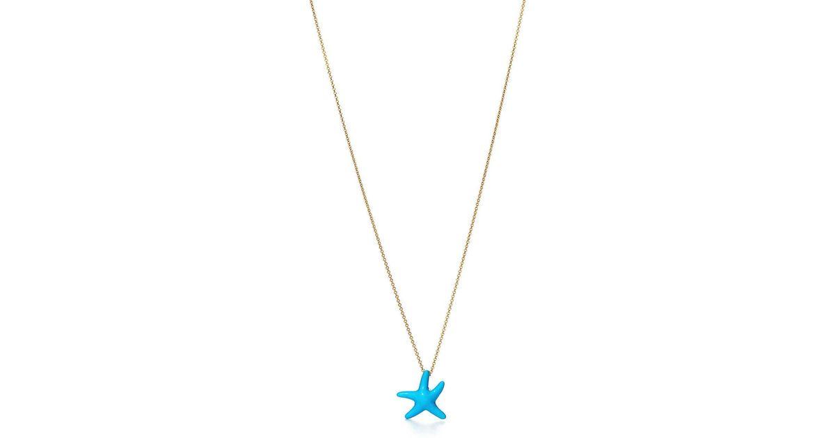 517b52d40 Tiffany & Co. Elsa Peretti® Starfish Pendant Of Turquoise And 18k Gold,  Mini in Metallic - Lyst