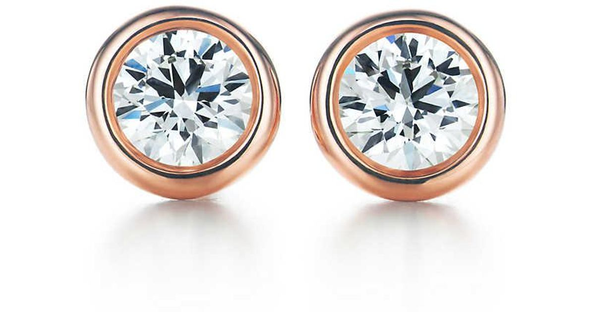 522fac6e3 Tiffany & Co. Elsa Peretti. Diamonds By The Yard. Earrings In 18k Rose Gold  - Size .20 in Metallic - Lyst