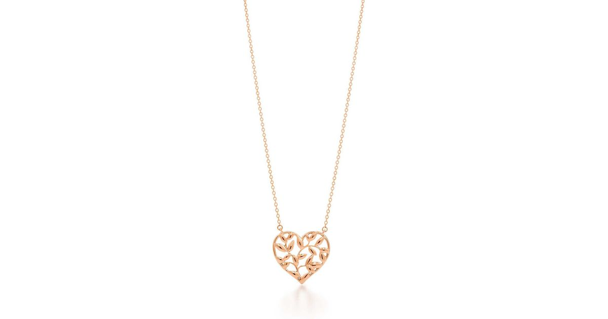 d95c690ac Tiffany & Co. Paloma Picasso. Olive Leaf Heart Pendant In 18k Rose Gold in  Green - Lyst
