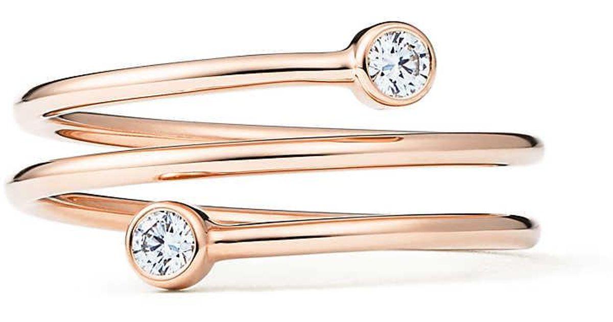 7766a5bd515 Tiffany   Co. Elsa Peretti. Diamond Hoop Three-row Ring In 18k Rose Gold  With Diamonds - Size 7 - Lyst