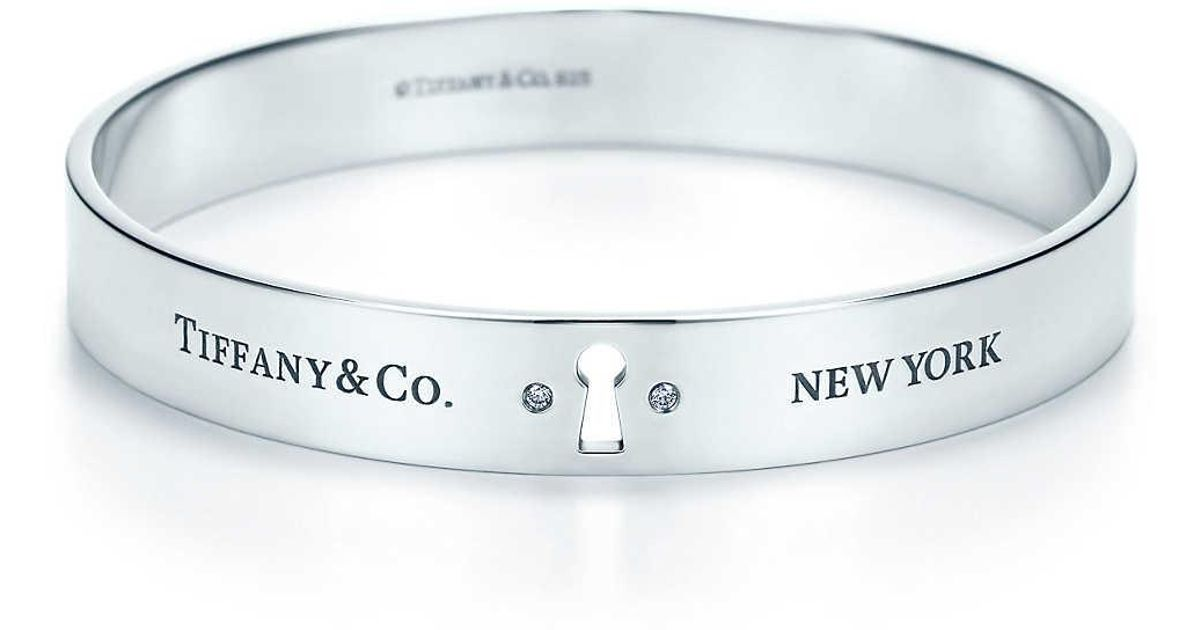 5383ba11e7cc8 Tiffany & Co Metallic Tiffany Locks Narrow Bangle In Sterling Silver With  Diamonds, Large