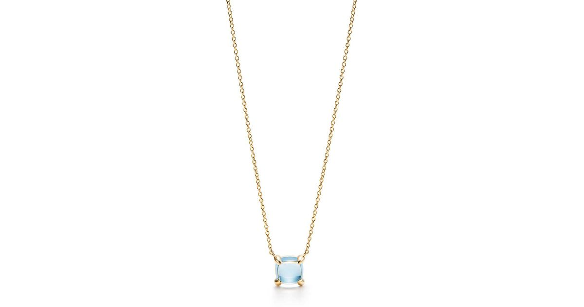 a9051682017ca Tiffany & Co Metallic Paloma's Sugar Stacks Pendant In 18k Gold With A Blue  Topaz