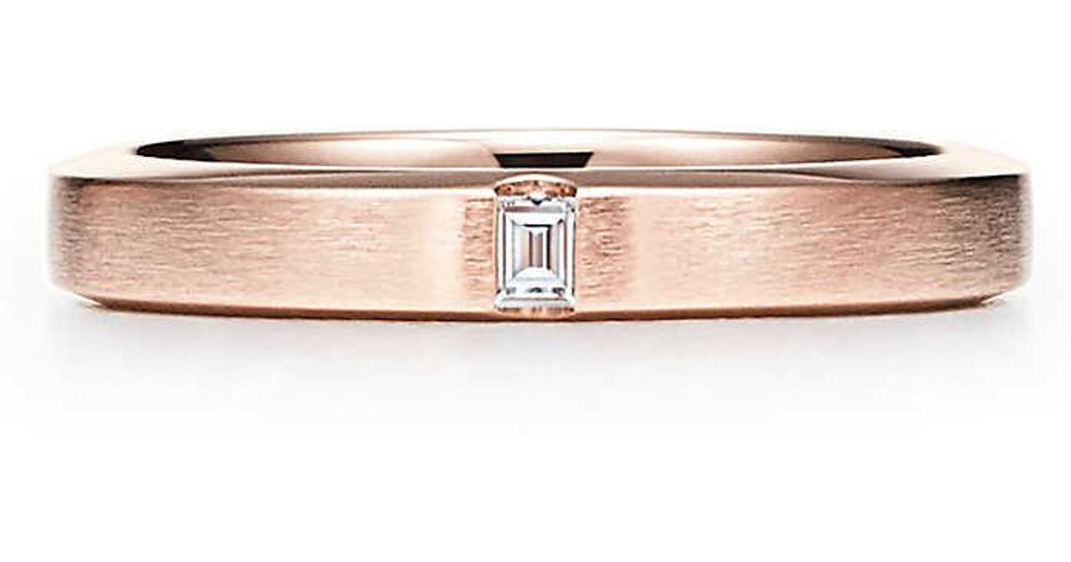 31239af25cdac Tiffany & Co Pink Tiffany Essential Band Satin Finish Ring In 18ct Rose  Gold With A Diamond - Size 10