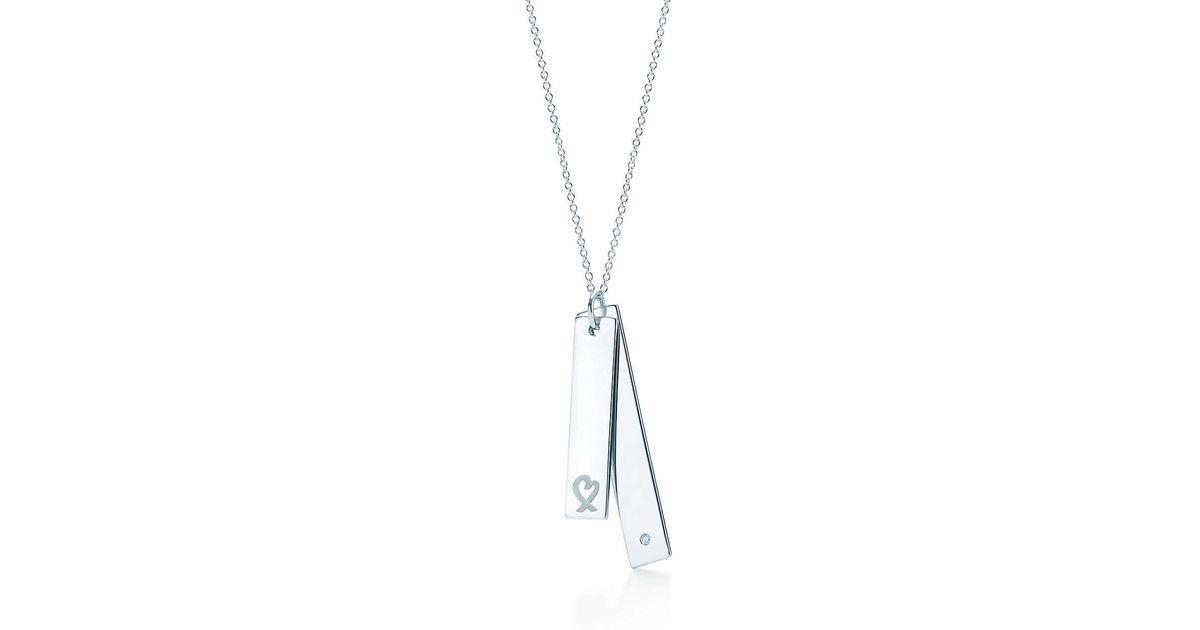 a6d6bb161 Tiffany & Co. Loving Heart Double Bar Pendant in Metallic - Lyst