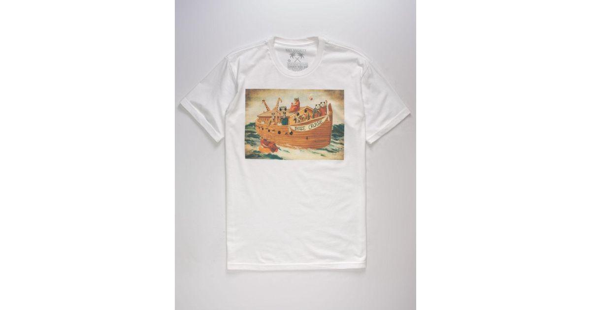 White Booze Cruise Riot Society Men/'s Short Sleeve T Shirts