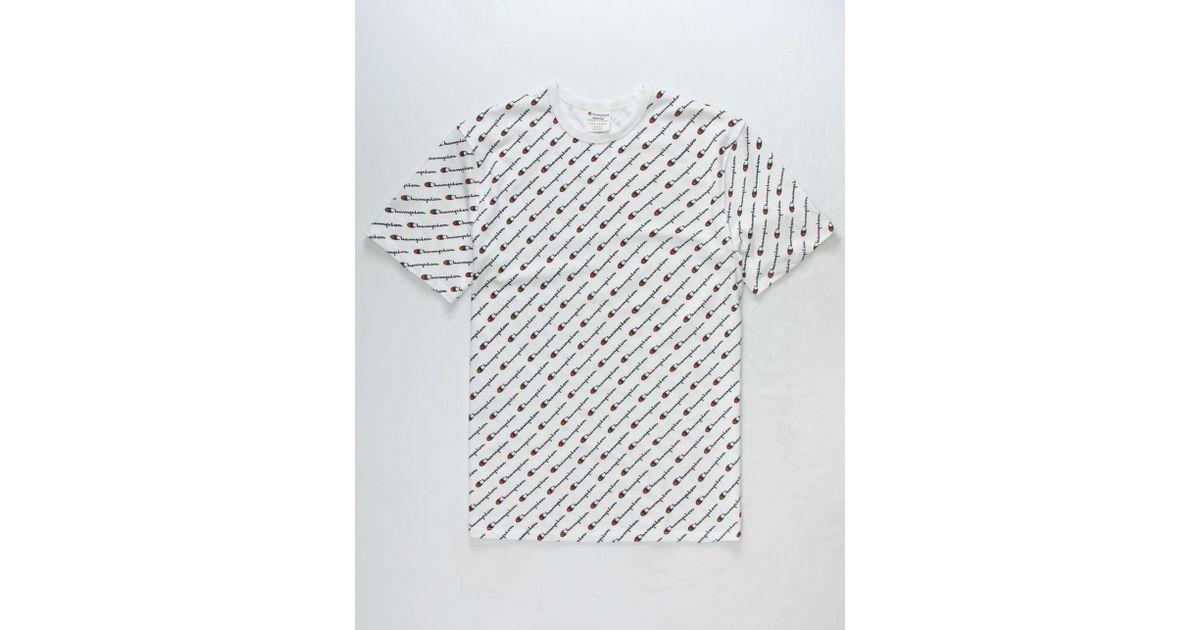 6f3734e6074f Champion Allover Script Screen White Mens T-shirt in White for Men - Lyst