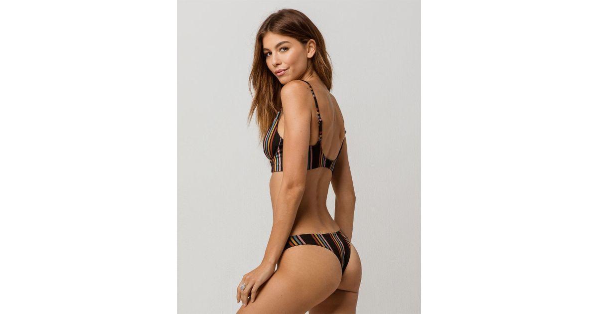 a34a3b0036 Lyst - RVCA Side Line Super Cheeky Bikini Bottoms in Black
