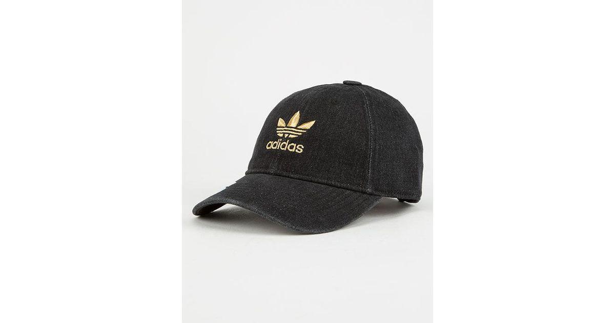 Lyst - adidas Originals Relaxed Denim Womens Dad Hat in Black 1981cb62374b