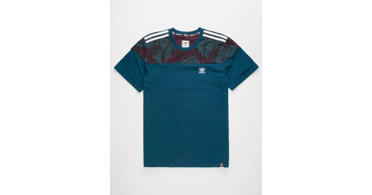 5e35de6eb133d Adidas Blue Blackbird Block Palm Mens T-Shirt for men
