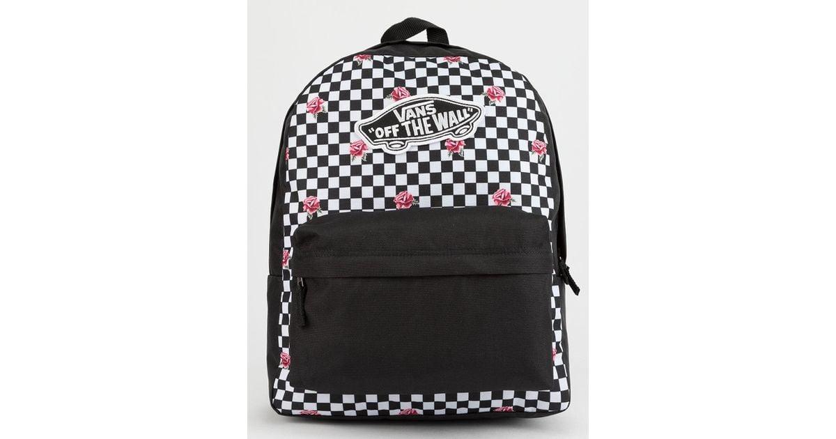 f254fd9efe6f3 Vans Realm Rose Checkerboard Backpack in Black - Lyst