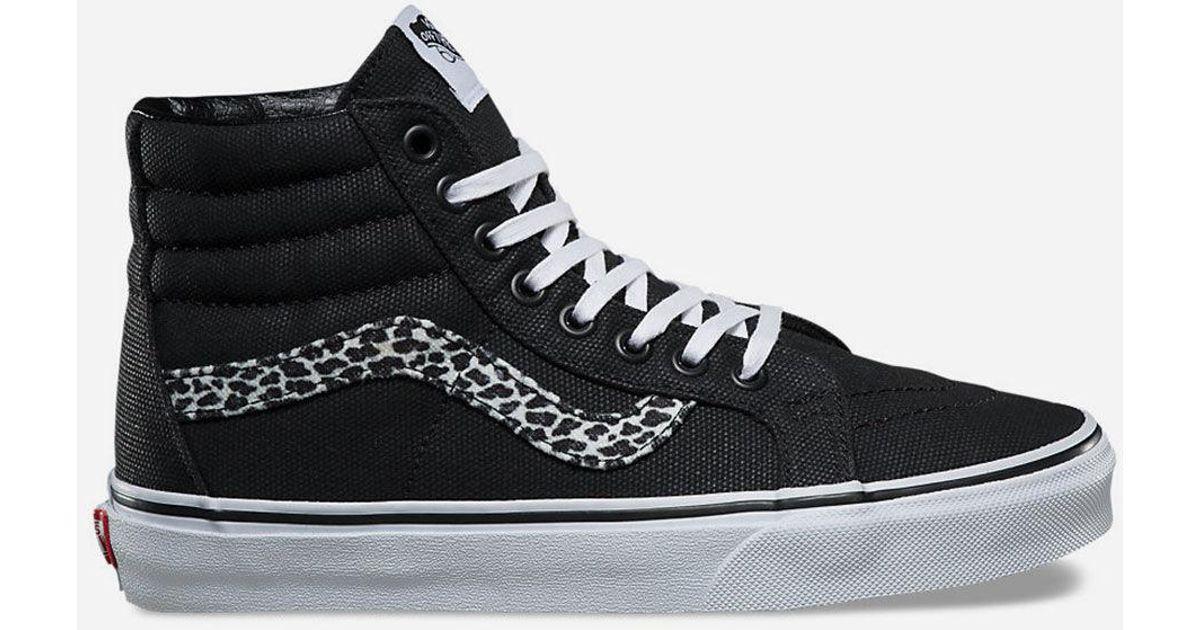 83e716d2fb Lyst - Vans Mini Leopard Sk8-hi Reissue Womens Shoes in Black